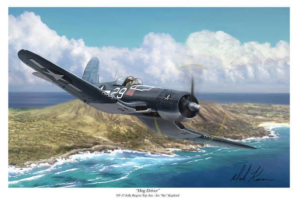 Corsair Painting - Hog Driver Vf 17 Jolly Rogers Top Ace Ike Kepford by Mark Karvon