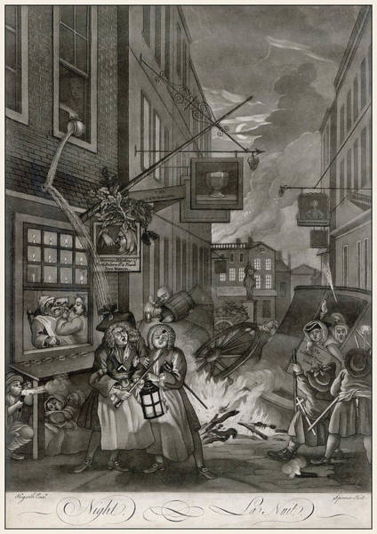 Night Time Drawing - Hogarth, Four Times Of The Day, 4 by Mary Evans Picture Library