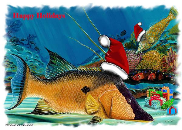 Digital Art - Hogfish Card by Steve Ozment