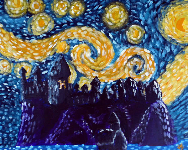 Starry Night Wall Art - Painting - Hogwarts Starry Night by Jera Sky