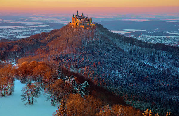 Medieval Photograph - Hohenzollern In  Winter Mood by Franz Schumacher
