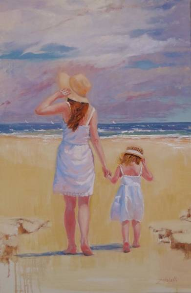 Coast Line Painting - Hold On by Laura Lee Zanghetti