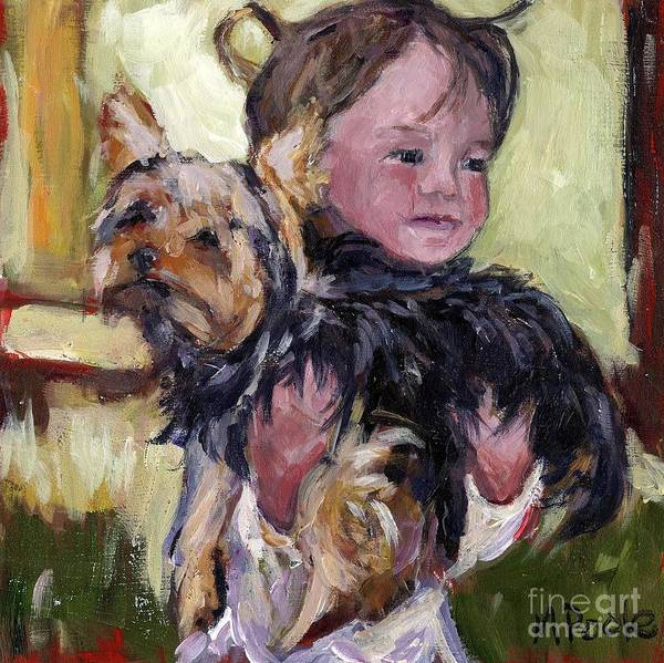 Yorkie Wall Art - Painting - Hold Tight by Molly Poole