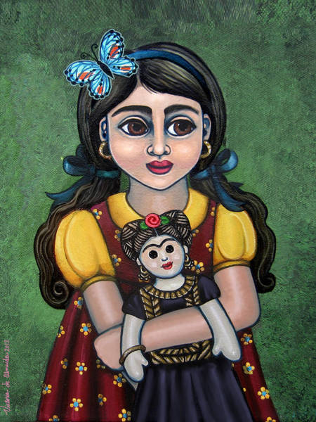 Painting - Holding Frida With Butterfly by Victoria De Almeida