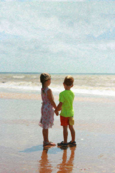 Painting - Holding Hands At Beach by Dean Wittle
