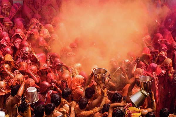Holi Photograph - Holi, Dauji Temple, Mathura by Nigel Killeen