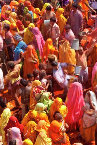 Holi Photograph - Holi Festival At A Temple, Mathura by Peter Adams