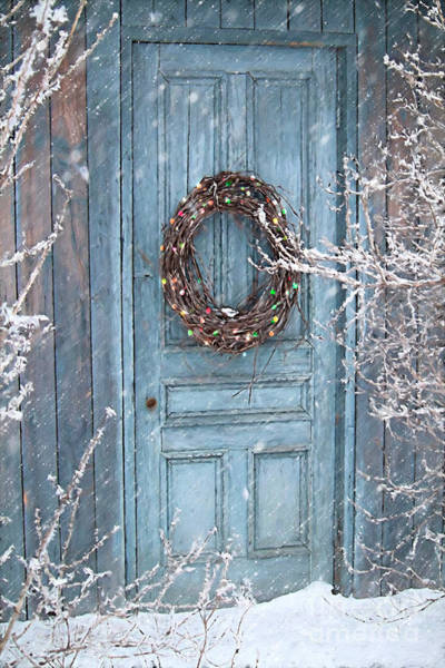 Door Photograph - Barn Door And Holiday Wreath/digital Painting by Sandra Cunningham