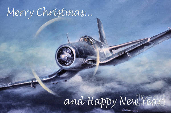 Corsair Painting - Holiday Card by Stephen Roberson