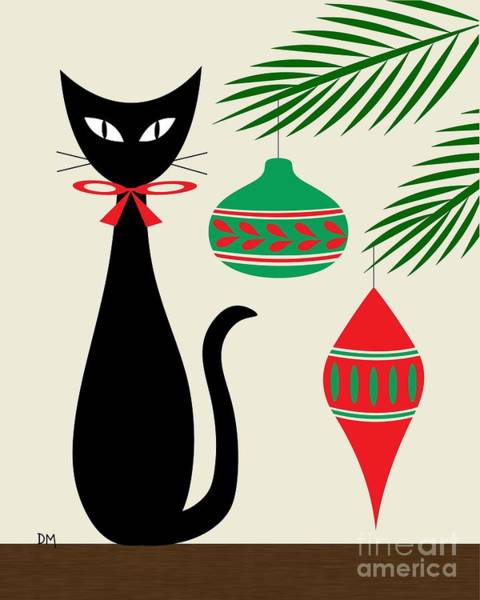 Christmas Digital Art - Holiday Cat On Cream by Donna Mibus