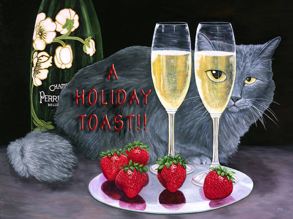 Painting - Holiday Champagne Toast by Karen Zuk Rosenblatt