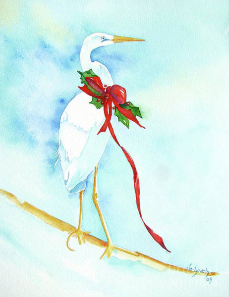 Painting - Holiday Egret by Jo Lynch