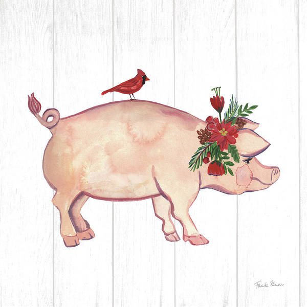 Christmas Flowers Painting - Holiday Farm Animals I by Farida Zaman