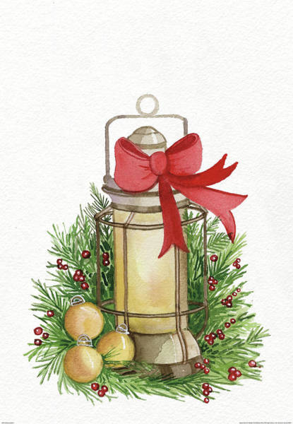 Yellow Ribbon Painting - Holiday Lantern II by Kathleen Parr Mckenna