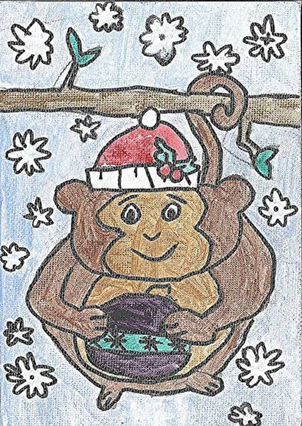 Painting - Holiday Monkey by Fred Hanna