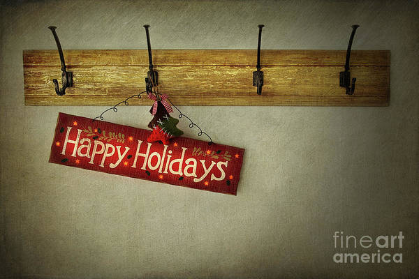 Winter Holiday Photograph - Holiday Sign On Antique Plaster Wall by Sandra Cunningham