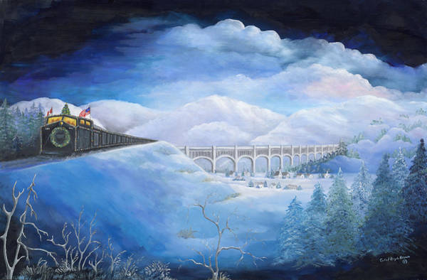 Endless Painting - Holiday Train by Carol Angela Brown