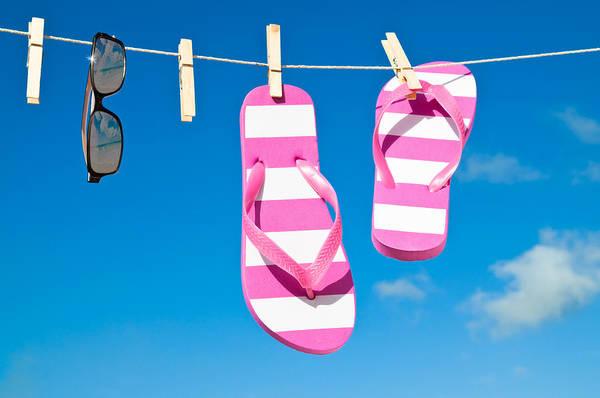 Flip Flops Photograph - Holiday Washing Line by Amanda Elwell