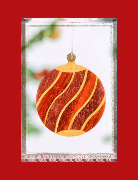 Photograph - Holiday Wave Pattern Art Ornament In Red by Jo Ann Tomaselli