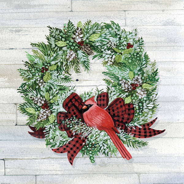 Pine Cones Painting - Holiday Wreath I On Wood by Kathleen Parr Mckenna