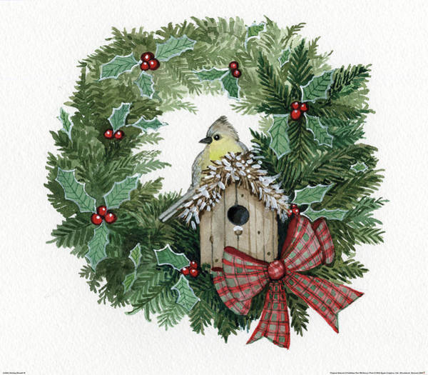 Birdhouse Painting - Holiday Wreath IIi by Kathleen Parr Mckenna