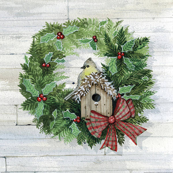 Birdhouse Painting - Holiday Wreath IIi On Wood by Kathleen Parr Mckenna