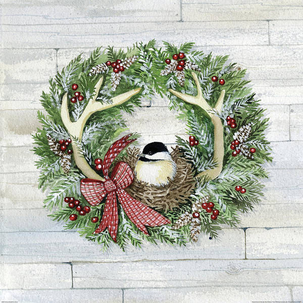 Pine Cones Painting - Holiday Wreath Iv On Wood by Kathleen Parr Mckenna