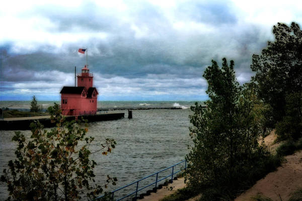 Photograph - Holland Harbor Light With Big Winds by Michelle Calkins