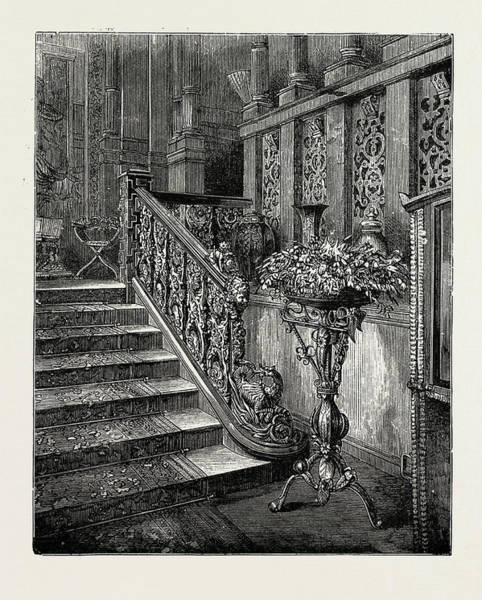 Wall Art - Drawing - Holland House, 1889 Font By The Grand Staircase by Litz Collection