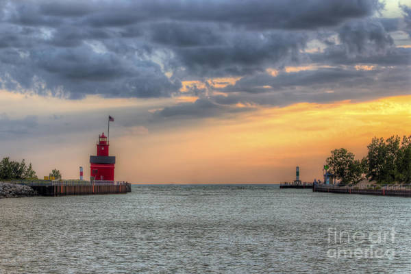 Holland Michigan Wall Art - Photograph - Holland Lighthouse At Sunset by Twenty Two North Photography