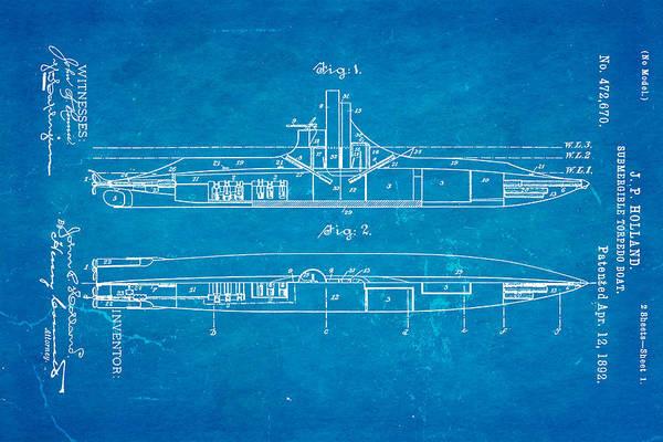Fitter Photograph - Holland Submarine Patent Art 1892 Blueprint by Ian Monk