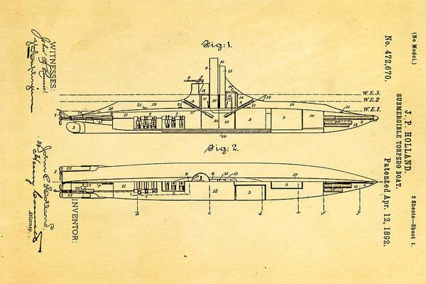 Seamen Photograph - Holland Submarine Patent Art 1892 by Ian Monk