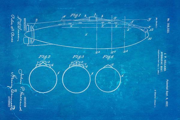 Seamen Photograph - Holland Submarine Patent  Art 1902 Blueprint by Ian Monk