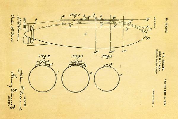 Seamen Photograph - Holland Submarine Patent  Art 1902 by Ian Monk
