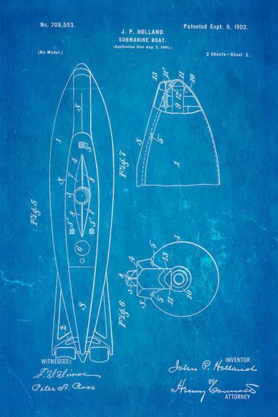 Seamen Photograph - Holland Submarine Patent  Art 2 1902 Blueprint by Ian Monk