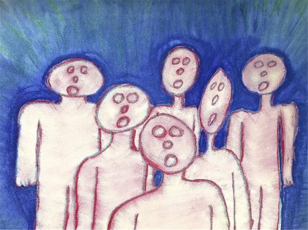 Painting - Hollow Men - Crowded by Mario MJ Perron