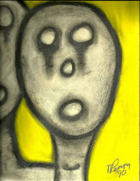 Drawing - Hollow Men - Not Us by Mario MJ Perron