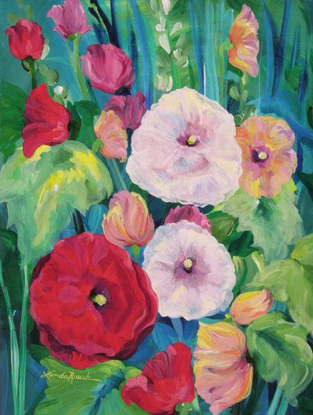 Painting - Hollyhock Bouquet by Linda Rauch