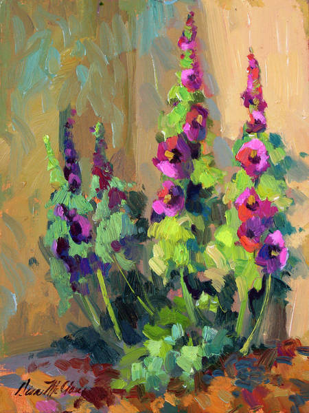 Giverny Painting - Hollyhocks At Giverny by Diane McClary