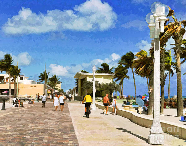 Photograph - Hollywood Beach Boardwalk In Florida - Painterly by Les Palenik