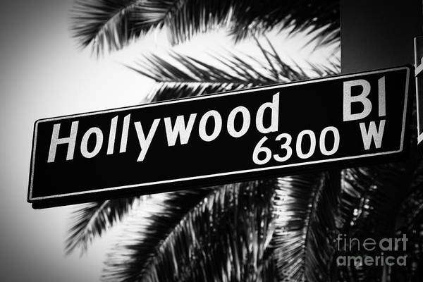 Movie Photograph - Hollywood Boulevard Street Sign In Black And White by Paul Velgos