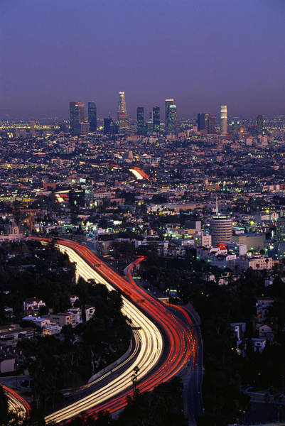 After Dark Photograph - Hollywood Freeway Los Angeles Ca by Panoramic Images