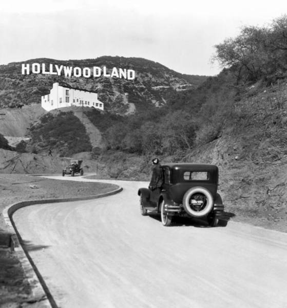 Black Car Photograph - Hollywoodland by Underwood Archives