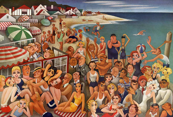 Wall Art - Painting - Hollywood's Malibu Beach Scene by Miguel Covarrubias