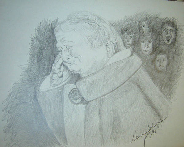 Holy Ghost Drawing - Holocaust Memories by Esther Newman-Cohen