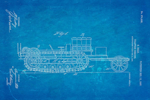 Traction Photograph - Holt Traction Engine Patent Art 1907 Blueprint by Ian Monk