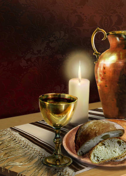 Bread And Wine Painting - Jewish Table Setting With Bread And Wine by Regina Femrite