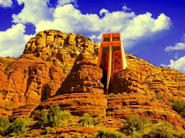Digital Art - Holy Cross Chapel Coconino National Forest by Bob and Nadine Johnston