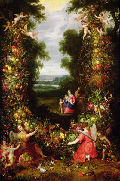 Putto Photograph - Holy Family In A Landscape With A Garland Of Fruit And Vegetables Panel by J. Brueghel