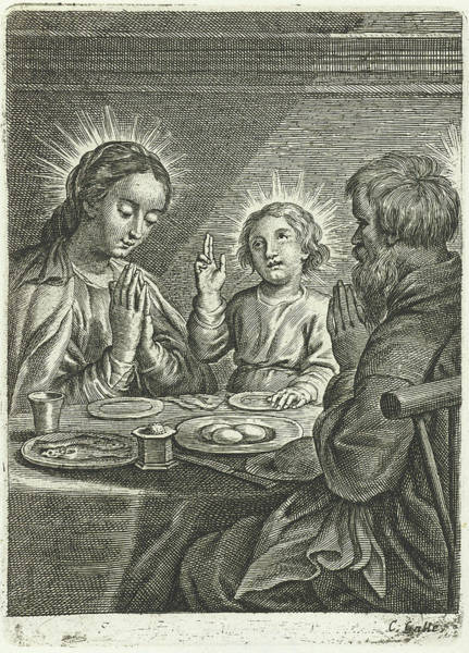 Wall Art - Drawing - Holy Family Praying Before Meals by Schelte Adamsz. Bolswert And Peter Paul Rubens And Cornelis Galle Ii